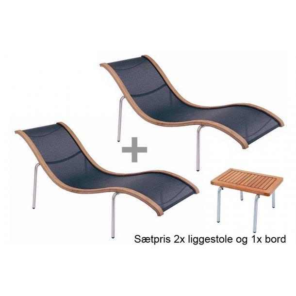 2x S'Line lounger og 1x S'Line sidebord