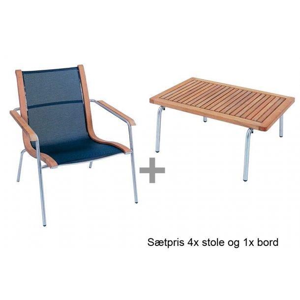 4x S'Line Relax stol og 1x S'Line sofabord